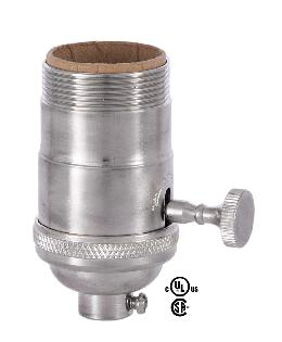 On-Off Turned Brass Lamp Socket (E26) With Satin Nickel Finish Uno Thread