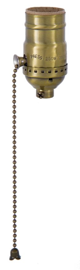 Antique Brass On-Off Pull Chain Socket