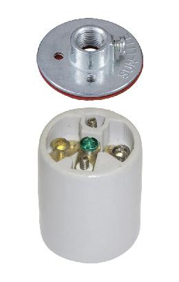 Keyless Porcelain 3 Terminal Socket with Ground Screw