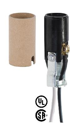 "E-12 , 2-1/16"" Tall Keyless Lamp Socket, 10"" Insulated Wire Leads"