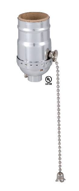 Pull Chain (On-Off) Medium Base Lamp Socket With Nickel Finish