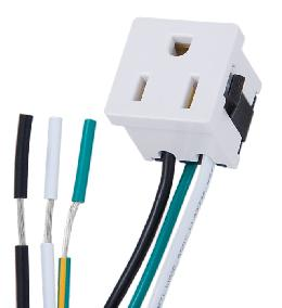 White Convenience Outlet with Ground Wire