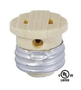 Ivory Medium Base Socket to Outlet Adapter