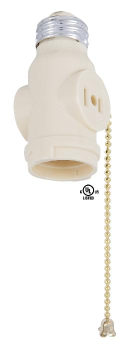 Ivory Pull Chain Two Outlet Socket Adapter