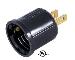 Black Polarized Outlet-to-Lampholder Adapter