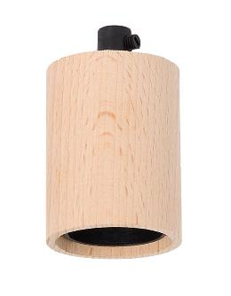 Unfinished Beech Wood Socket Cover with E-26 Socket and Mounting Hardware