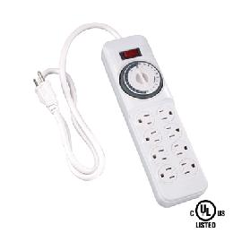 Indoor 8-Outlet Daily Mechanical Power Strip w/Timer