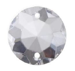"11/16"" (18 mm) Clear Crystal Round Rose Jewel"