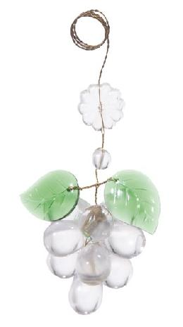 "3 1/2"" Clear Glass Grape Cluster w/Leaves"