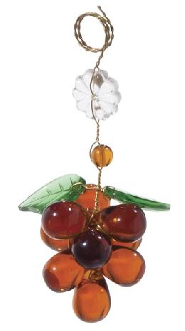 "3 1/2"" Amber Glass Grape Cluster w/Leaves"