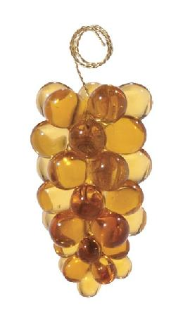 "3"" Amber Glass Grape Cluster - Hand Made"
