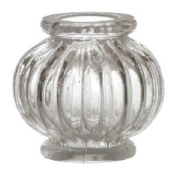 Pressed Glass Ribbed Short Column