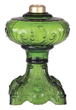 "Dark Green Glass ""Princess Feather"" Oil Lamp Font"