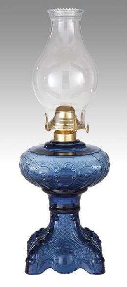 "Medium Blue ""Princess Feather"" Kerosene Oil Lamp"