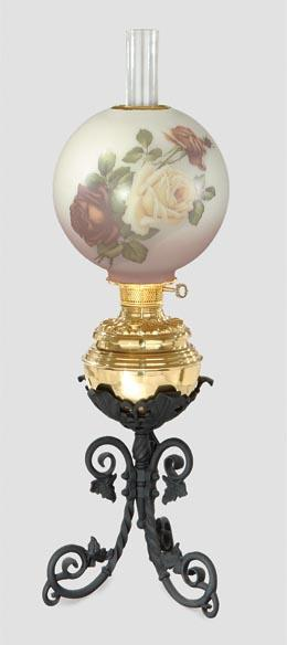 Iron and Brass Banquet Lamp