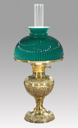 Early style embossed brass lamp