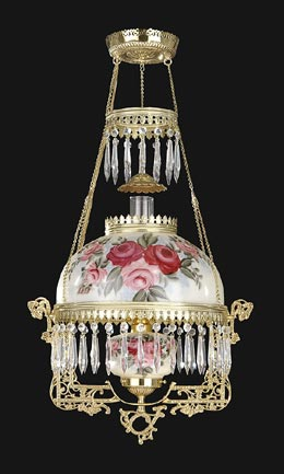 Roses Library Lamp with Hand Painted Shade & Font 69408 ...