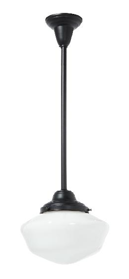 "6"" Shade Fitter Satin Black Finish Brass Schoolhouse Style Pendant Fixture - No Shade"