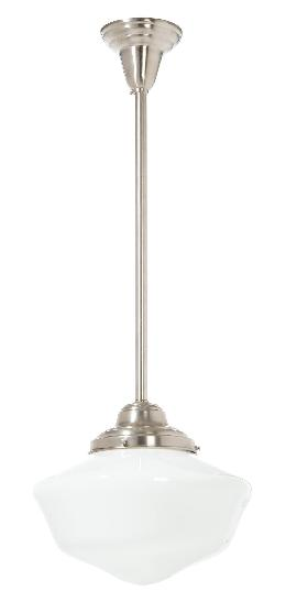 "6"" Shade Fitter Satin Nickel Finish Brass Schoolhouse Style Pendant Fixture - No Shade"