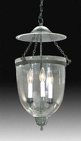 19th Century Hall Lantern with clear glass dome