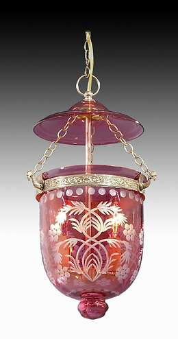 Tiny Hall Lantern with Cranberry Dome