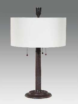 Retro Style Table Lamp with Shallow Drum Shade