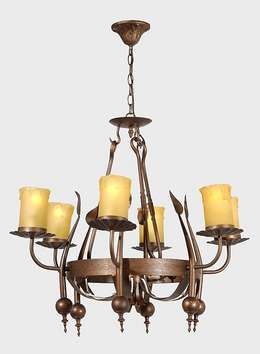 Iron 6-Light Fixture w/Antique Brass Finish