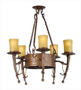 Iron 5-Light Fixture Antique Brass Finish