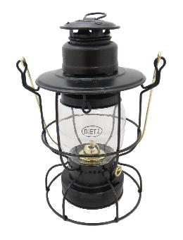 Dietz Watchman Railroad Oil Lantern Black with Gold Trim