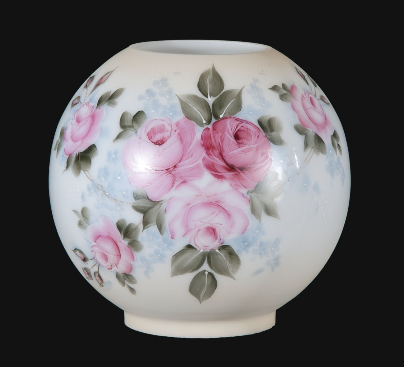 8 Hand Painted Opal Ball Shade Garden Bouquet Scene 00862