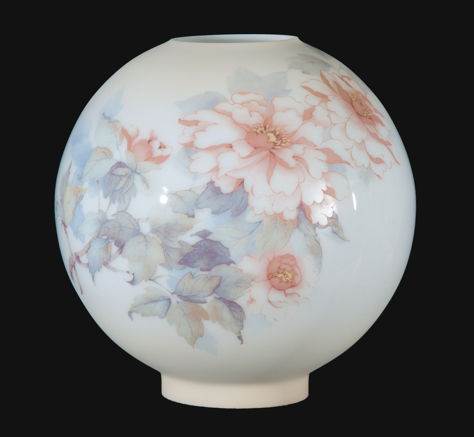 10 Hand Painted Opal Glass Ball Lamp Shade Peonies Scene