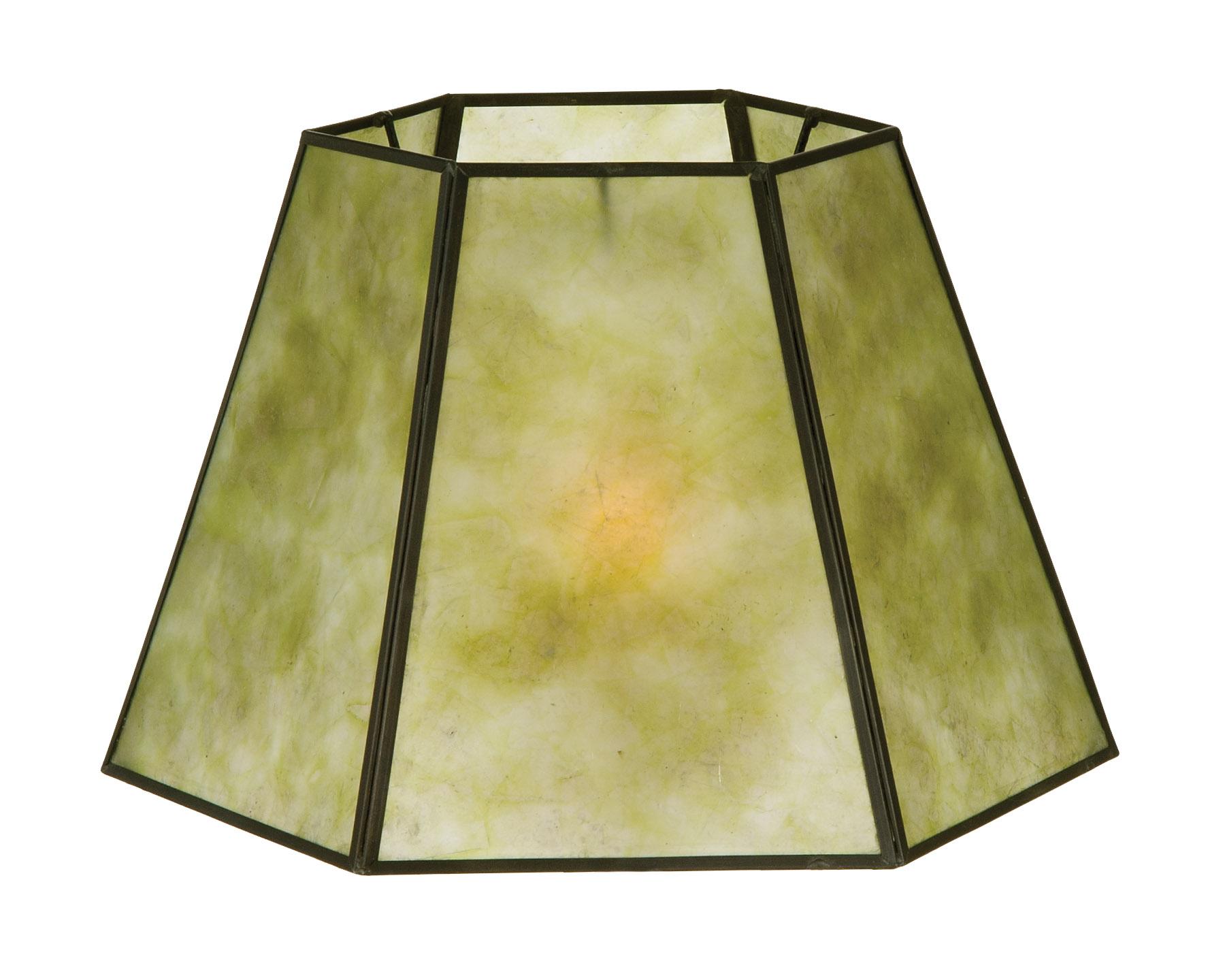 05702G   Craftsman Green Hexagon Style Mica Lampshade