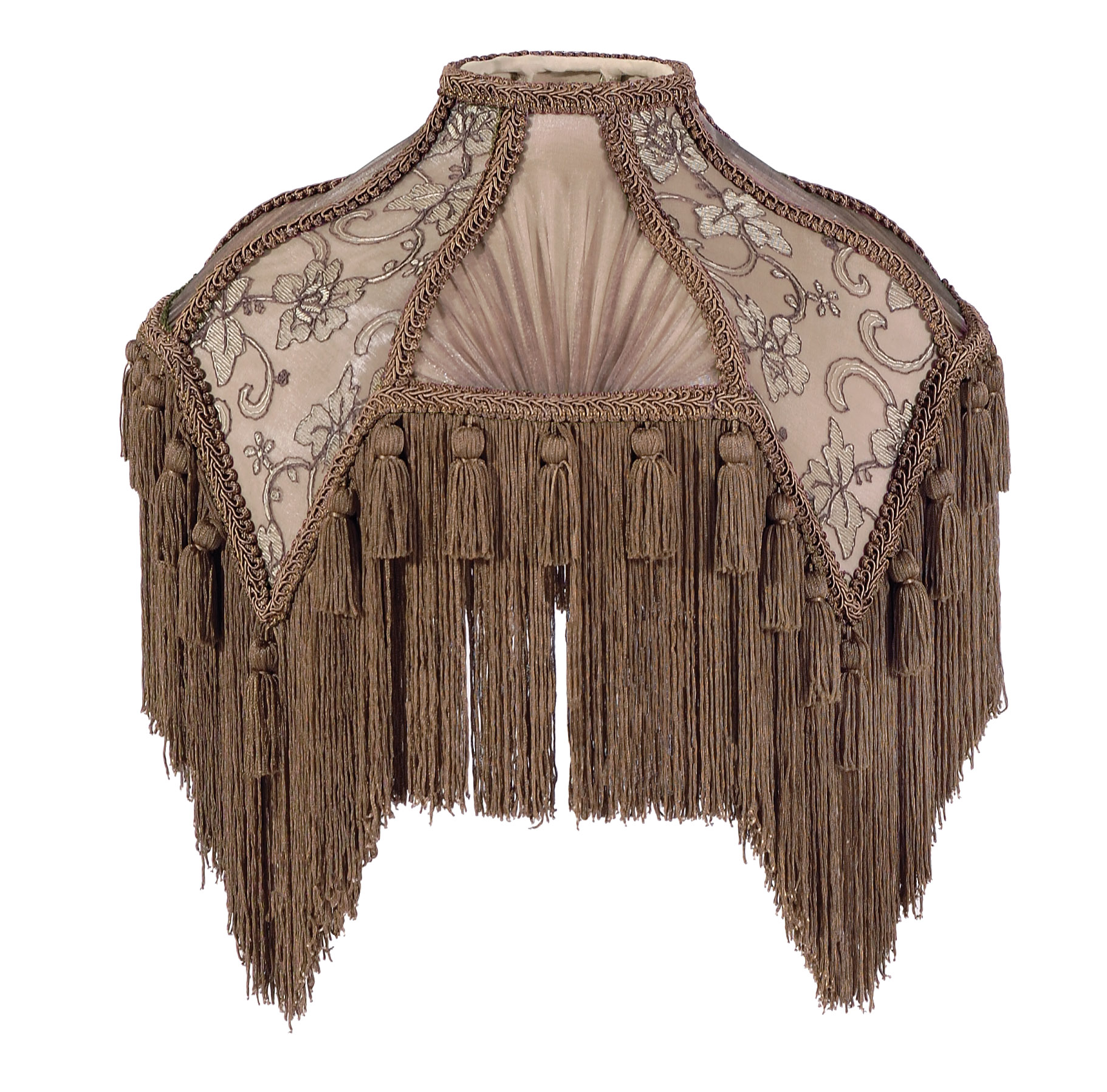 Mocha Bridge Uno Victorian Fringed Lamp Shades 05797a B