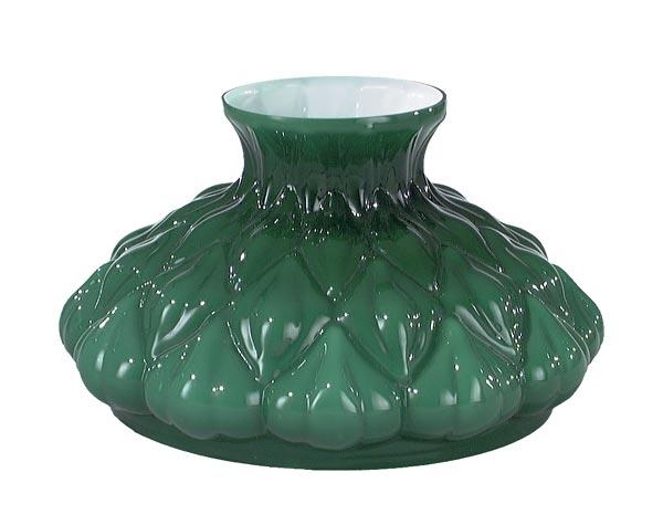 Cased Green Glass Embossed Artichoke Shade