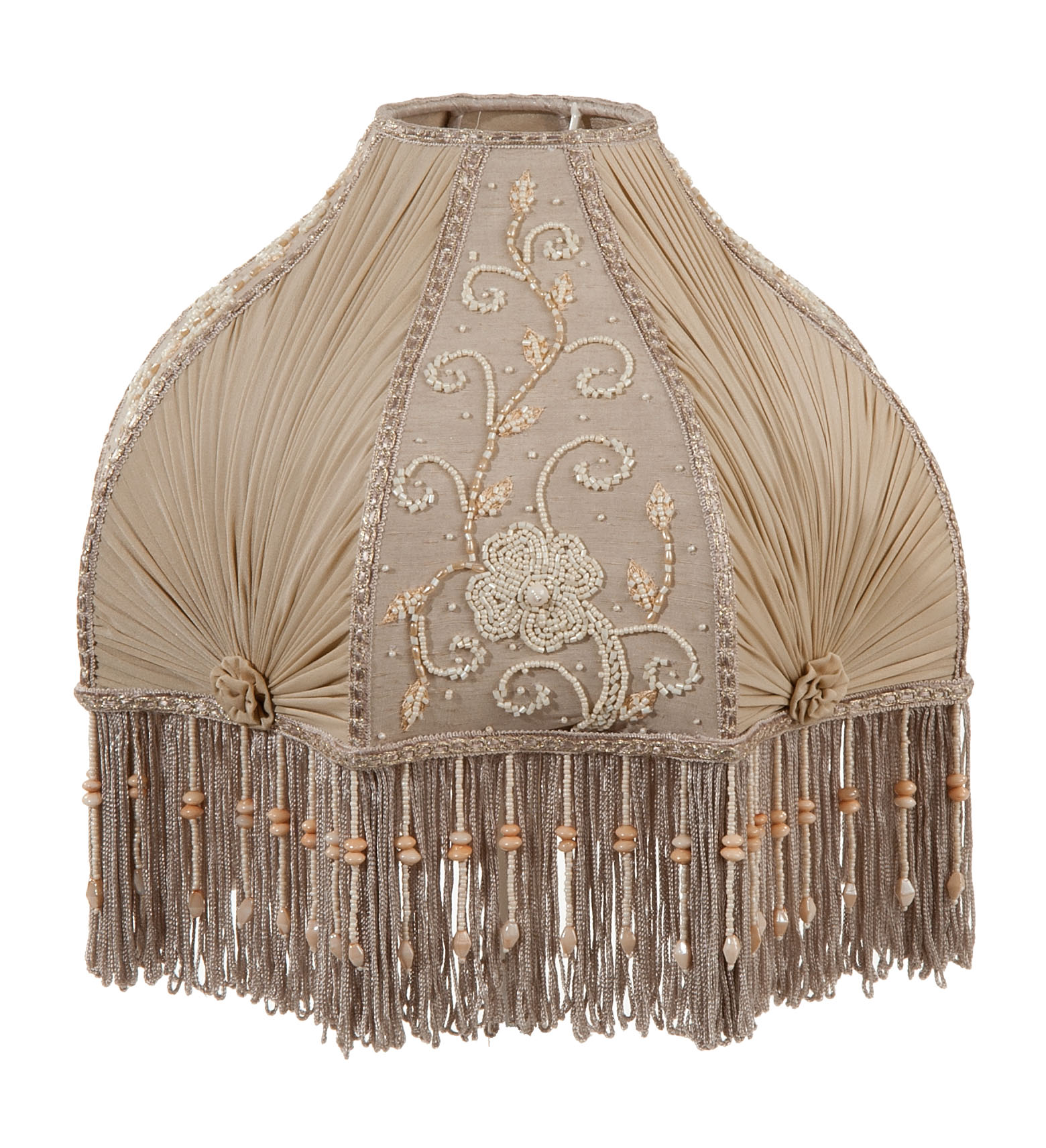 Victorian Antique Buff Pleated Chiffon And Embroidered