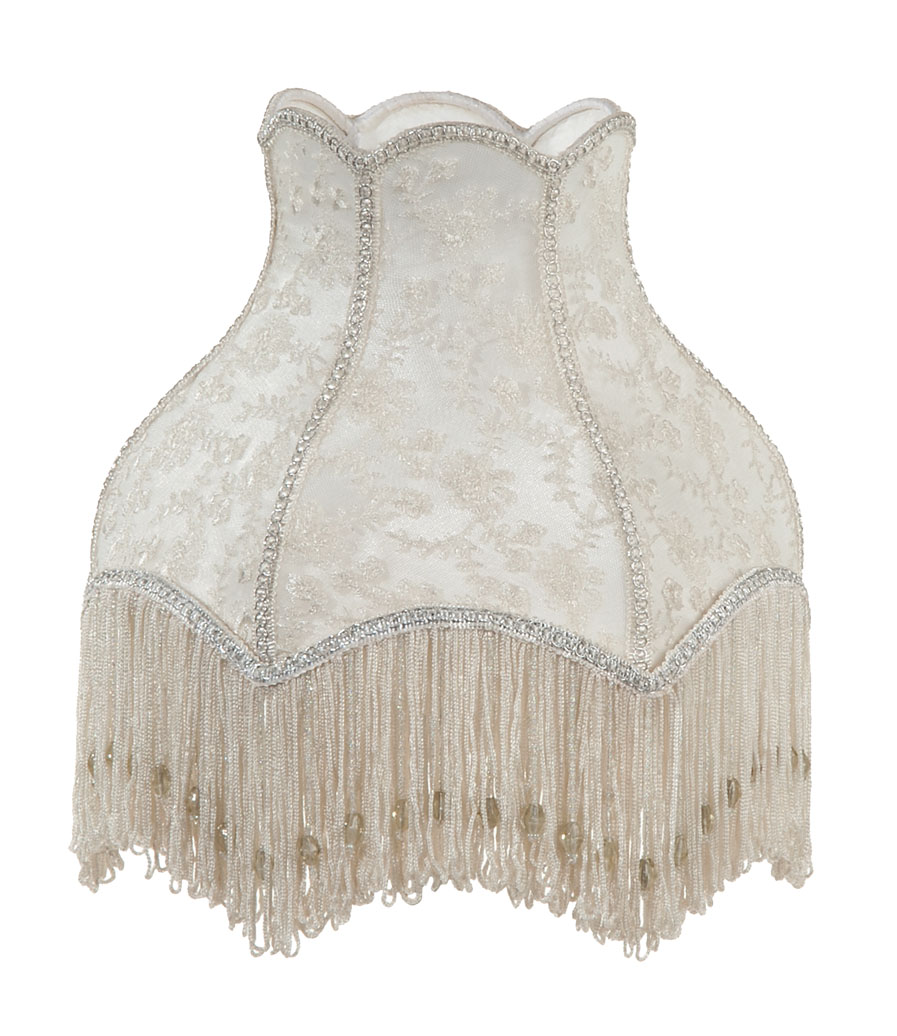 Victorian Style Embroidered Lace Lamp Shade In Ivory Color