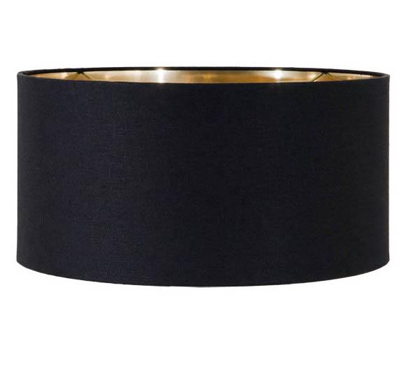 Black Linen Mid Century Shallow Drum Hardback Shade 07208n