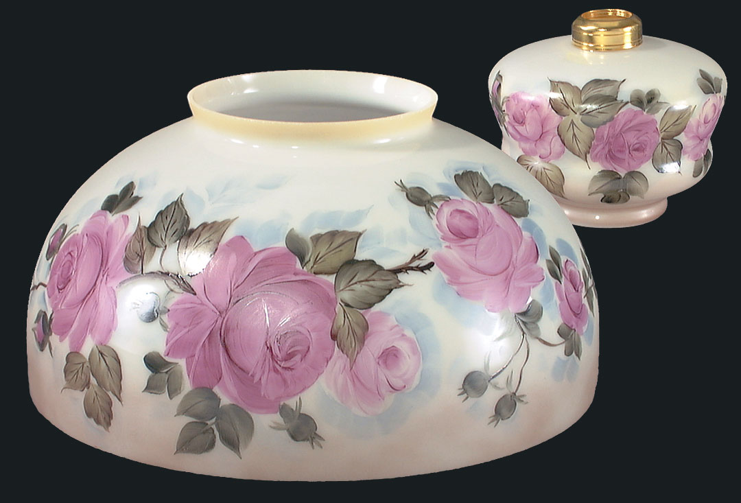 14 hand painted navajo rose dome shade and font 08045 b for Painting light shades