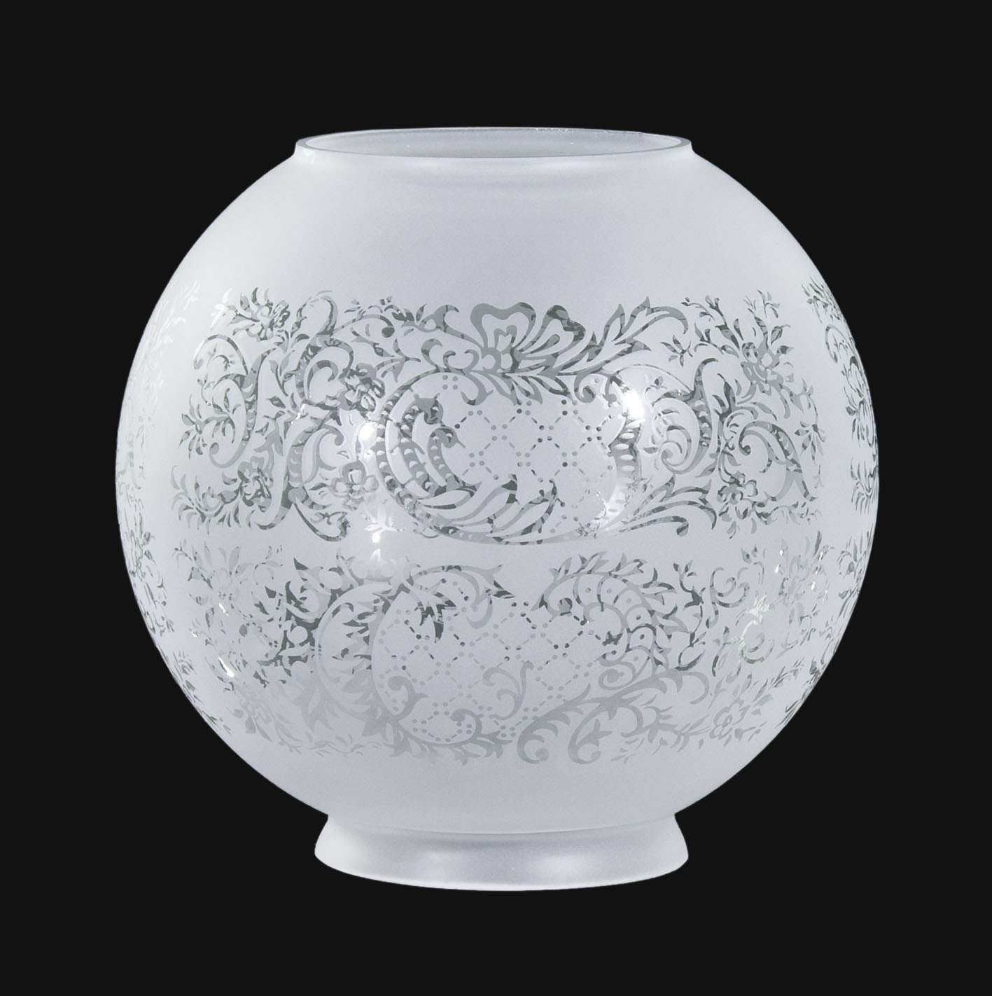 8 Satin Etched Ball Shade Floral Scene 08503i B Amp P Lamp