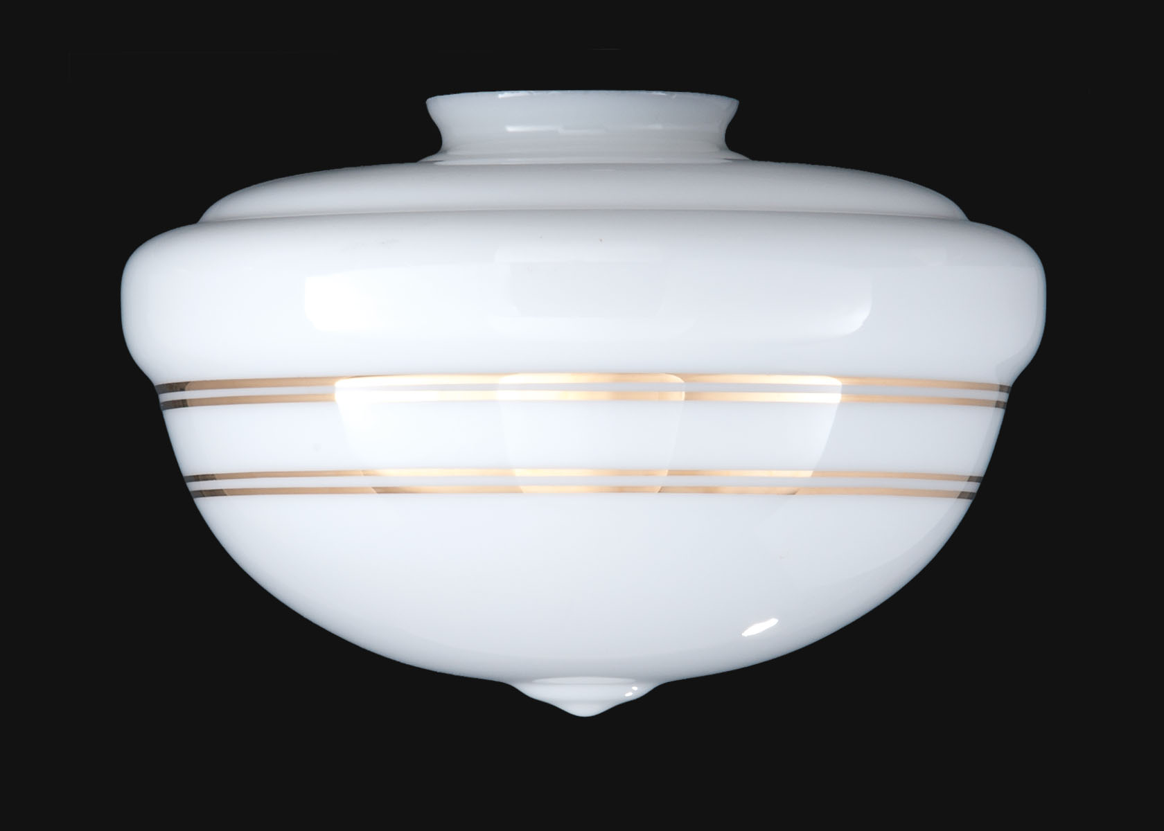 Metallic Banded Schoolhouse Opal Glass Shade 08841g B P Lamp Supply