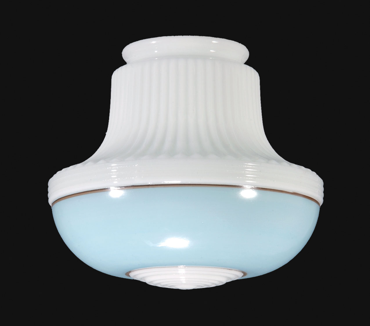 9 Opal Glass Deco Pendant Shade Turquoise Band 08880 B