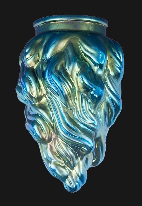 Blue Iridescent Art Glass Flame Pendant Shade 08909 B Amp P