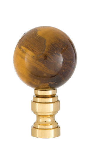 Tiger Eye Design 30mm Ball Finial Brass Brass Base 11246