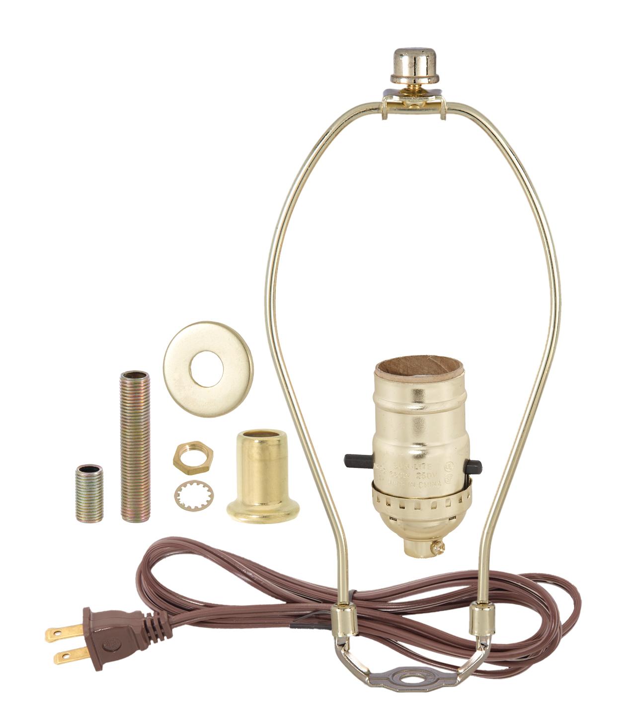 """8/"""" HARP ~ Antique Brass Table Lamp Wiring Kit ~ Push-Thru Socket ~ 8/' Cord"""