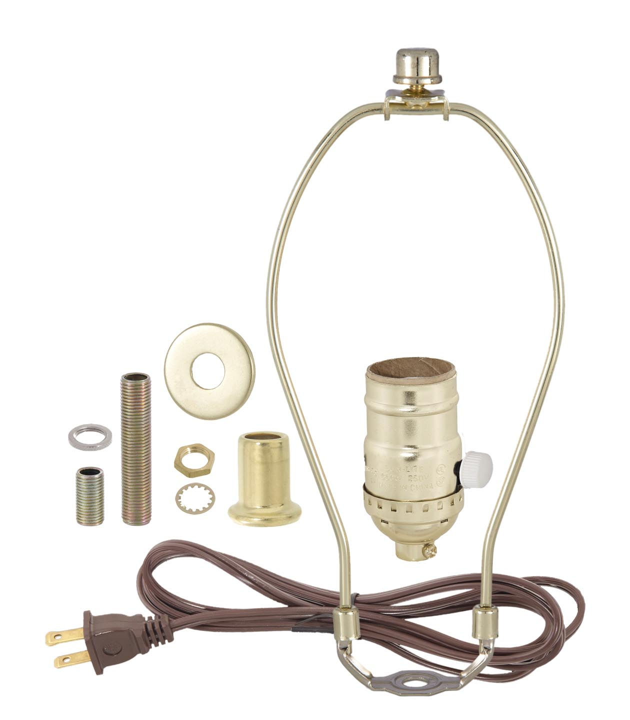 Brass table lamp wiring kit with full range dimmer socket 30554p10 brass table lamp wiring kit with full range dimmer socket 8 ft 182 spt 1 cord set lamp harp finial riser nut 58 inch nipple 2 inch nipple greentooth