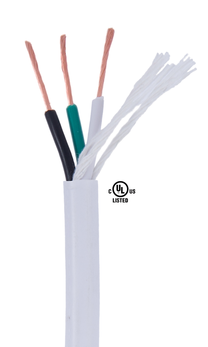 White PVC 3-wire Heavy Duty SJT Spooled Lamp Cord 46628 | B&P Lamp ...