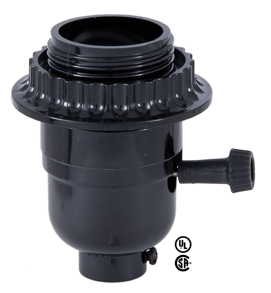 Medium Base E26 3 Way Turn Knob Black Phenolic Lamp