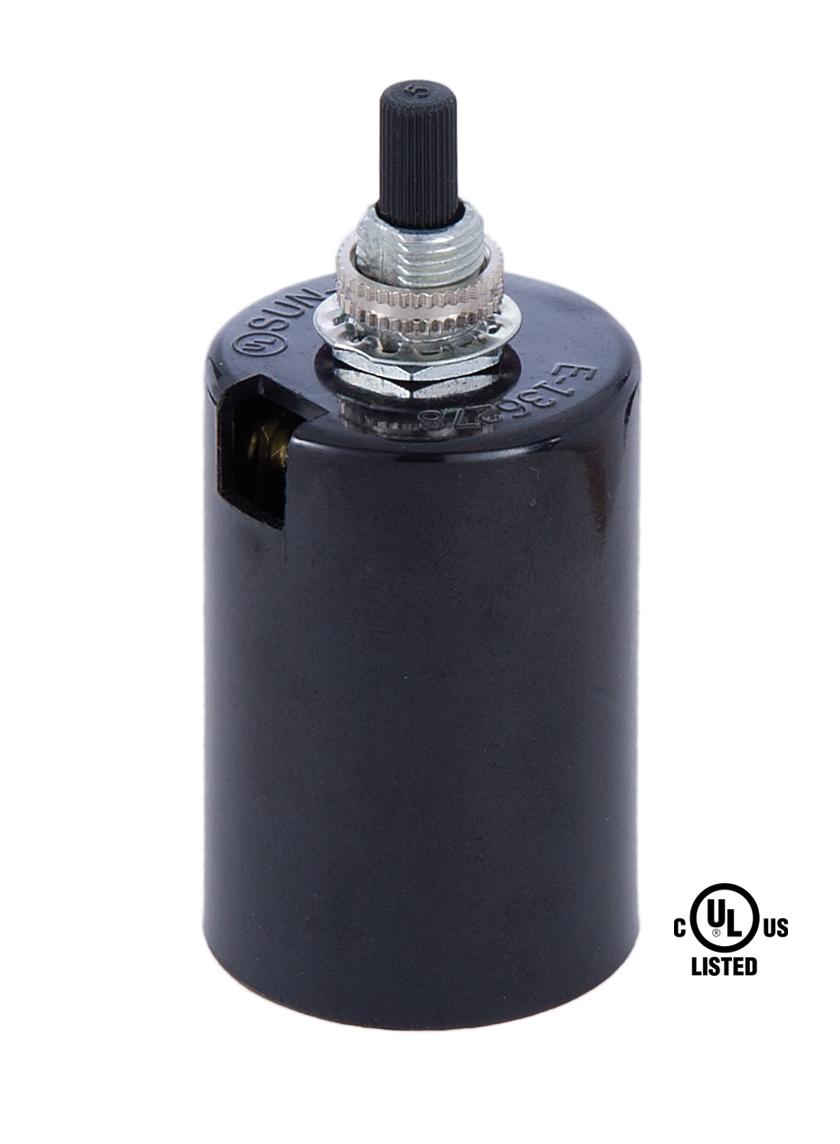 Black Plastic Husk Socket With On Off Turn Knob 47724 B
