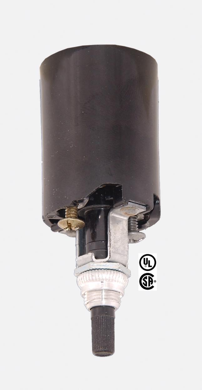 High heat bakelite socket fixture with bottom turn knob switch 48100 high heat bakelite standard size socket fixture with bottom turn knob switch and 38 inch diahickey with retaining nut 660w 250v aloadofball Images