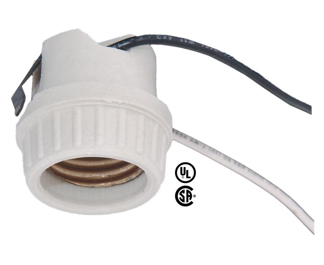 Medium Base Porcelain Snap-In Lamp Holder Socket 48107 | B&P Lamp Supply